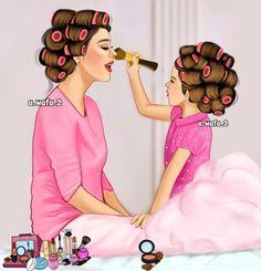 Este posibil ca imaginea să conţină: unul sau mai mulţi oameni Mother And Daughter Drawing, Mother Daughter Fashion, Mother Daughter Quotes, Mother Art, Mom Daughter, Mother And Child, Girly M, Cute Girl Drawing, Girly Drawings