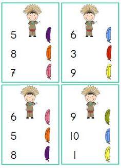 telkaartjes indianen kleuters tellen en getallen
