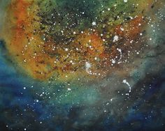 "Abstract night sky  -  8 x 10""  print of original watercolor painting. $15.00, via Etsy."
