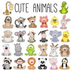 Illustration about Set of Cute Animals on a white background. Illustration of cute, lemur, koala - 65607715 Safari Animals, Baby Animals, Cute Animals, Funny Animals, Easy Drawings, Cute Cartoon, Baby Quilts, Doodles, Cute Animal Clipart