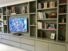 Tv Bookcase Wall Unit New Media Furniture the Bookcase Co Built In Shelves Living Room, Living Room Wall Units, Living Room Storage, Wall Storage, Home Living Room, Living Room Designs, Media Storage, Built In Tv Wall Unit, Living Room Cupboards