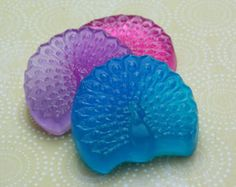 Peacock Soap Favors - Set of 10 - Handmade Glycerin Soap