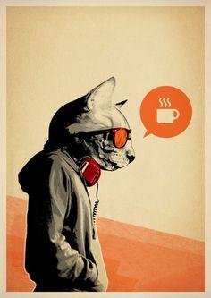 Some truly badass feline illustrations by UK-based Artist, Rhys Owens of Hidden Moves. Art And Illustration, Illustrations, Photography Illustration, Art Pop, Street Art, Art Design, Graphic Design, Oeuvre D'art, Framed Art