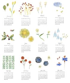 watercolor 2014 calendar