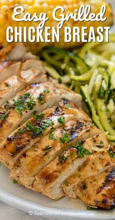 *Marinade- Easy Grilled Chicken Breast is a delicious marinated chicken recipe resulting in the most flavorful and tender chicken ever to come off your grill! Make this in advance for quick weeknight meal! Grilled Chicken Breast Recipes, Marinated Grilled Chicken, Grilled Meat, Easy Chicken Recipes, Grilled Chicken Seasoning, Grilled Chicken Strips, Grilled Veggies, Cooking Recipes, Healthy Recipes