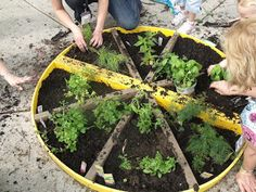 PIZZA GARDEN! I love this idea! Plant tomatoes, basil, peppers, onion, oregano, and garlic.