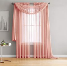 "Jane - Rod Pocket Semi-Sheer Curtains - 2 Pieces - Total Size 108"" W x 63"" L - Natural Light Flow Material Durable - for Bedroom - Living Room - Kid's Room and Kitchen (54"" W x 63"" L, Coral)"