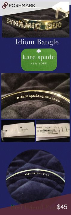 """♠️kate spade♠️ Idiom Bangle Sparkling crystals illuminate bold typographical etchings in a polished bangle bracelet that serves as fashionable reminder that good friends are one of life's greatest treasures. 7 3/4"""" inner circumference; 3/8"""" width. Made of 12k gold plate & glass.  By kate spade new york. Will provide copy of Receipt to buyer if requested.  From Nordstroms. Brand new, pristine condition, tags on, never worn. 💐Bundle for discount!💐 💋💋Amy kate spade Jewelry Bracelets"""