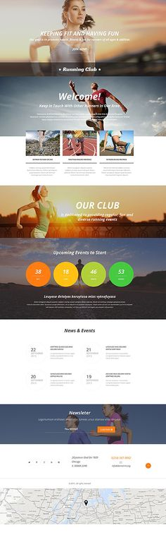 Template 54560 - Running Club  Responsive Landing Page Template