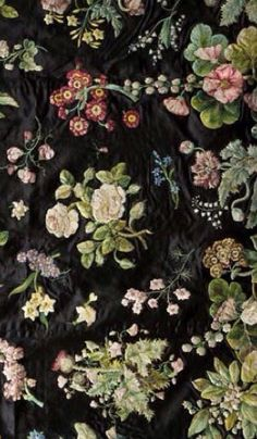 Court dress (detail) by Mary Delany, 1740-41. Silk embroidery on satin