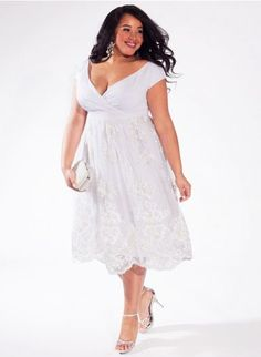 Knee-length plus-size wedding dress