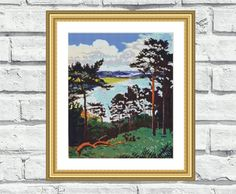 """Counted cross stitch pattern of colourful landscape painting """"Irish Landscape"""". These patterns look especially attractive when viewed from a distance and not difficult to stitch! Perfect for any room in your home including living rooms, kids rooms and bedrooms. 6,99$"""