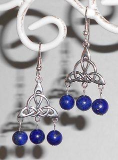 Lapis Lazuli Tri Celtic Knot Sterling Silver by PrettyRockShop, $37.00