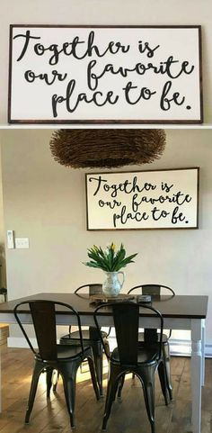 """Together is our favorite place to be 24x48"""", dining room decor, bedroom wall art, living room decor, farmhouse sign, farmhouse decor, family sign, rustic sign, rustic decor, home decor #ad"""