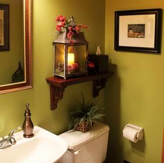 Powder Room Ideas Powder Room Decorating Ideas With Wooden Shelves ...
