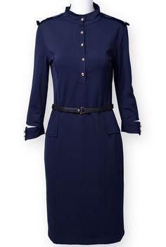 Navy Stand Collar Long Sleeve Epaulet Dress - Sheinside.com