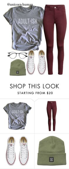 """""""Untitled #2547"""" by unicorn-human on Polyvore featuring Humör, H&M, Converse, Herschel Supply Co. and Ray-Ban"""