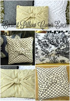 This Is The Easiest Pillow Cover Ever No Measuring No , dies ist der einfachste kissenbezug aller zeiten , , c'est la taie d'oreiller la plus facile qui soit , esta es la funda de almohada más fácil que nunca. Easy No Sew Pillow Covers, Decorative Pillow Covers, Throw Pillow Covers, Homemade Pillow Covers, Homemade Pillows, Diy Throw Pillows, Sewing Pillows, How To Make Pillows, No Sew Cushions