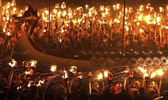 """Viking Festival, Lerwick, the capital of Shetland, in Scotland.  """"Up Helly Aa"""" festival which takes place at the start of each year, is Europe's biggest fire festival. The event is a visual feast that makes Guy Fawkes Night seem tame by comparison."""