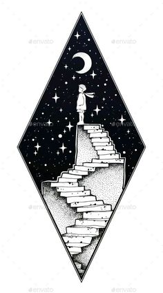 Abandoned ruin staircase with a boy walking the moon.- Verlassene Ruinentreppe mit einem Jungen, der den Mond betrachtet – Abandoned ruin staircase with a boy looking at the moon – … - Space Drawings, Cool Art Drawings, Pencil Art Drawings, Art Drawings Sketches, Ink Illustrations, Easy Drawings, Drawing Ideas, Tumblr Drawings, Abstract Drawings