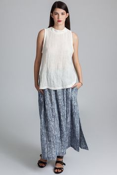 The Saturna is an ankle length elastic waist band skirt with flat front, inseam pockets and side slits. Made in Vancouver, Canada by eco-fashion label Pillar. Ethical Clothing, Ethical Fashion, Fashion Labels, Slow Fashion, Ankle Length, Lace Skirt, Tunic Tops, Skirts, Model