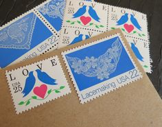 LOVE Birds .. Lace .. UNused Vintage Postage Stamps  .. post 5 letters