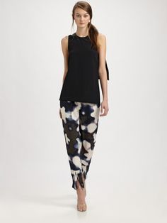 Silk Print Ankle Pants