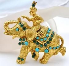 Vintage Vendome Elephant Rhinestone Brooch Signed Figural Turquoise Gold Pin