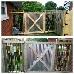 Wine bottle fence and galvanized metal gate. What we used: -4 cases of wine bottles for one 2.5ftx6ft fence, a total of 8 cases -Instead of rebar, we chose to use 8 ft copper grounding rods and hammered them in 2 feet, (16 total rods). -The wood piece across the top, sits on a metal bracket, holds them all in place. We did not attach the top wood piece in case we needed to replace any bottles.