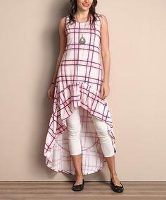 Pink Plaid Ruffle-Hem Hi-Low Sleeveless Tunic Dress - Plus #zulily #zulilyfinds