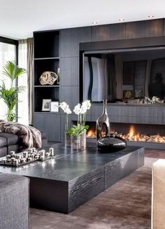 Feature Wall Living Room, Living Room Modern, Living Room Interior, Home Living Room, Tv Feature Wall, Living Room Decor Fireplace, Home Fireplace, Wall Units With Fireplace, Fireplace Inserts