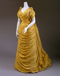 Late Victorian era evening dress | c. 1888. Sooo much fabric...sooo oppulent!