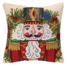 Nutcracker in Red Hook Wool Throw Pillow