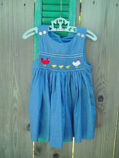Baby Toddler Embroidered Chicken Smocked Dress by ScoutsHonors