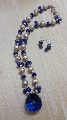 Large Glass Ball Pendant w/ carved Silver Balls by JewelsbyLil