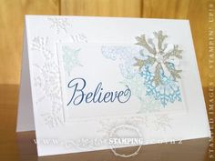 A glittering Christmas card using the gorgeous Snowflake Soiree stamp set from the Holiday Catalogue (page 5).