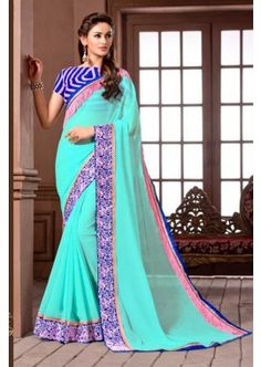 aqua-couleur georgette saree, - 81,00 €, #RobeIndienne #SariPasCher #TenueBollywood #Shopkund