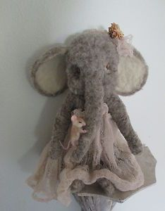 Needle felted elephant and mouse by Angels Door Artist Penny White.