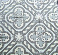 Cathedral Cement Heritage Tiles.  Colors are grey and off white.