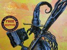 sculpture witch metal cat cauldron grimoire by Artistelestordus