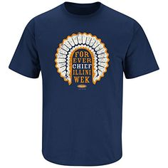 Illinois Fighting Illini Fans. Chief Illiniwek Navy T-Shirt (S-5X)