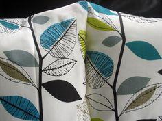 Decorative pillows teal blue lime green gray grey leaf design cushion shams UK designer fabricTwo 18 x 18 inch handmade. $40.00, via Etsy.