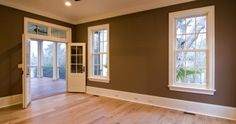 Baseboard styles modern with base molding ideas. Baseboard is the trim that goes along the wall bottom beside the flooring. Different baseboard styles. Baseboard Styles, House, Interior, Big Houses Interior, Living Room Paint, Dark Interiors, Retro Interior, House Painting, Trending Paint Colors