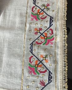 No photo description available. Cross Stitch Borders, Cross Stitch Rose, Cross Stitch Samplers, Cross Stitch Embroidery, Hand Embroidery, Cross Stitch Patterns, Graphic Design Portfolio Examples, Border Embroidery Designs, Palestinian Embroidery