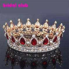 Huge European Royal Hair Crown Red/Blue Rhinestone Imitation Ruby Tiara Super Large Quinceanera Crown Wedding hair accessories