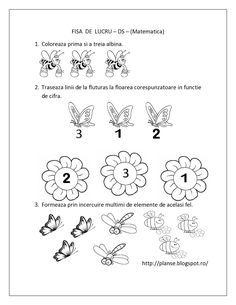 Planse de colorat si fise pentru copii: DS - FISE de lucru cu Insecte - Matematica Preschool Number Worksheets, Numbers Preschool, Learning Numbers, Worksheets For Kids, Kindergarten Activities, Numbers For Kids, Math For Kids, Kids Education, Kids Learning