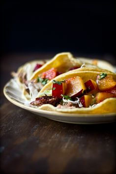 Rooibos-Smoked Pork Tacos with Plum Grapefruit Salsa #tacotuesday