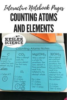 Practice counting atoms and elements with this flip book worksheet. Perfect for taking notes during a chemistry lesson or introductory class. Turn science notebooks into a fun, interactive, hands-on learning experience for your middle school or high school students! Grades 5th 6th 7th 8th 9th 10th Chemistry Worksheets, Teaching Chemistry, Chemistry Lessons, Science Chemistry, Physical Science, Science Lessons, Science Experiments, Earth Science, Free Worksheets