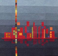 Outstanding...   Would like to do a different skyline in different colors.   Reflection Quilt  via Etsy.