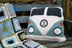 .Knit Vw Pillow, Try to make in crochet.